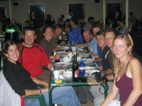 Group having dinner on the boat