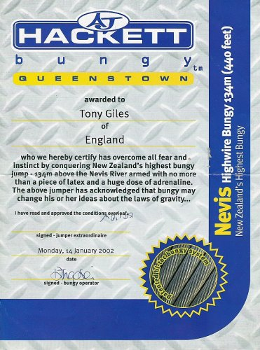 Certificate of completion: Nevis Highwire Bungy