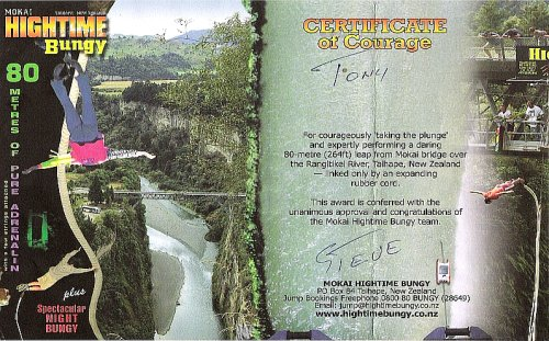 Certificate of Courage: Mokai Hightime Bungy