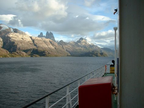 View of mountains from the ship