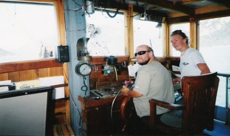 Tony piloting the boat