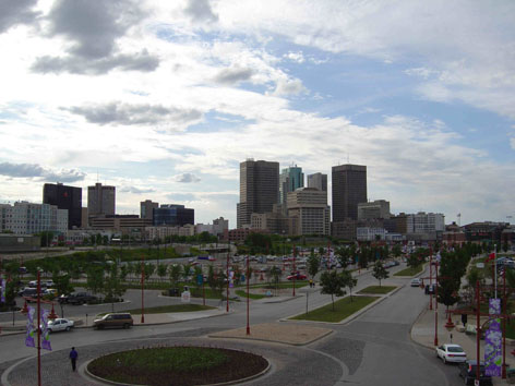 View of Winnipeg from The Forks.