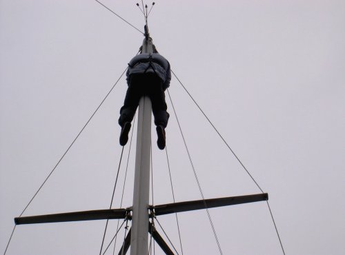 Tony up the mast