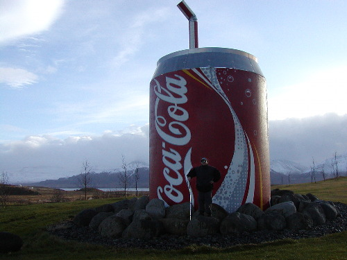 Tony in front of a giant Coke can