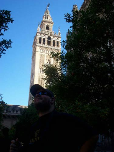 Tony in front of the cathedral tower (la Giralda)