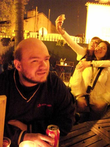 Tony sat in the patio bar. Oasis Hostel, Lisbon