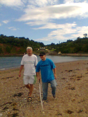 Tony and his Step Dad in Teignmouth. 13th July 2008.