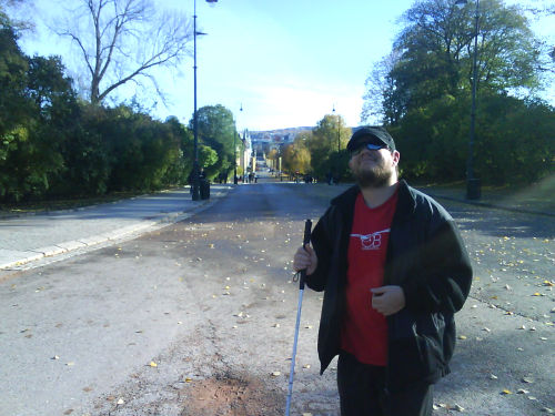 Tony standing in street