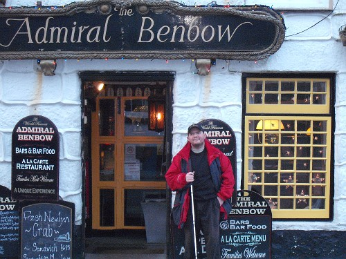 Tony outside the historical pub, The Admiral Benbow, Penzance, Cornwall