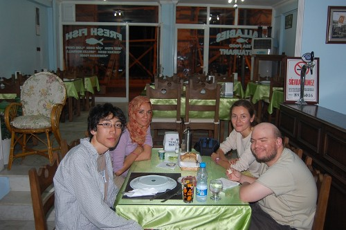 Spanish girls, Belen and Marisa plus Japanese guy, in Hotel Wallaby, restaurant, Selcuk, Aegean Coast, Turkey, 8th September