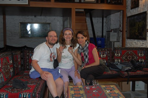 Spanish girls and Tony in a winery in a traditional village near Selcuk, Western Turkey, 11th September