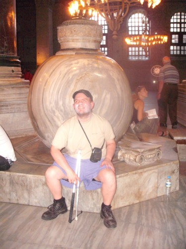 Marble Urns at Hagia Sophia with Tony in the foreground