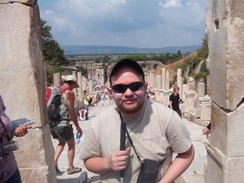 Tony at the top of Marble Street, Ephasus
