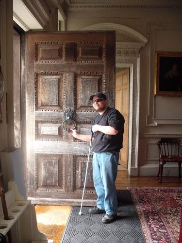 Tony leaving Mompesson House, Salisbury