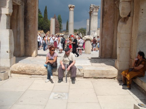 Tony taking a break at Ephesus