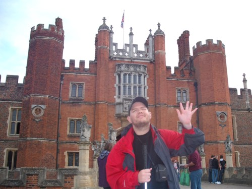 Tony about to enter Hampton Court, London
