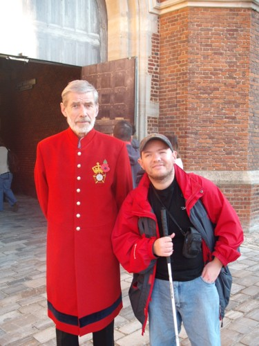 Tony and guard, Hampton Court Palace, London