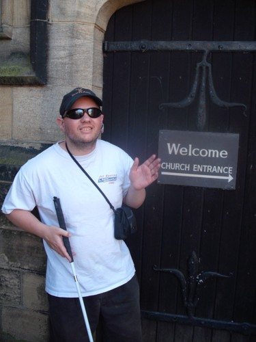 Tony outside Haworth Church