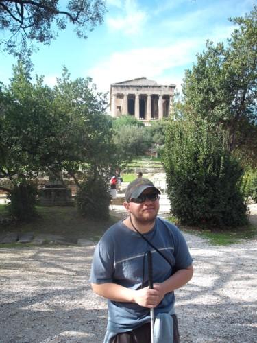 11th November 2009. Tony at the Temple of Hephaistos, Agora, Athens.