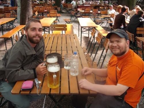 Kyle and Tony at beer garden in Munich