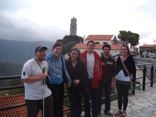 Tony and friends at Arahova near Delphi, 7th November 2009.