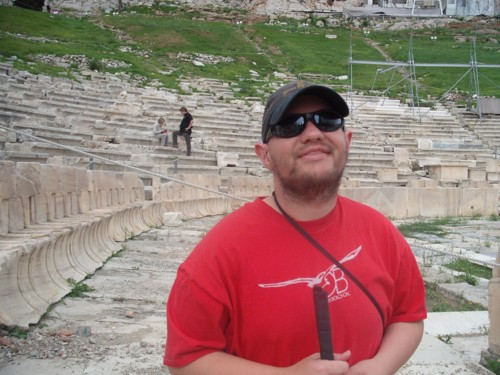 Tony at the Theatre of Dionysus, below the Acropolis. 10th November 2009.