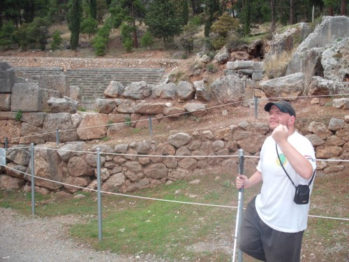 Tony at the ruins Delphi, Greece, 7th November 2009.