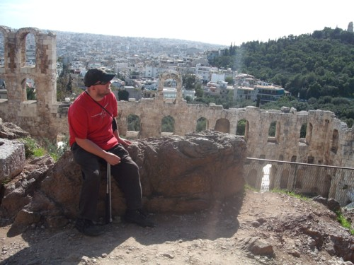 Tony inside The Acropolis. Odeon of Herodes Atticus in the background. 9th November 2009.