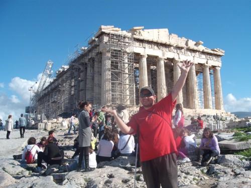 Tony measuring the Parthenon, the Acropolis, Athens, Greece