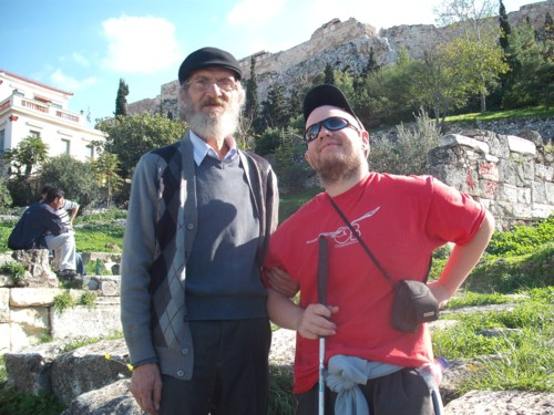 Tony with a local Greek papa below the Acropolis, Athens, Greece. 13th November 2009.