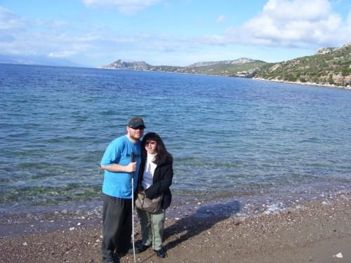 Tony and Tatiana on Panagitsa Beach, near Loutraki.