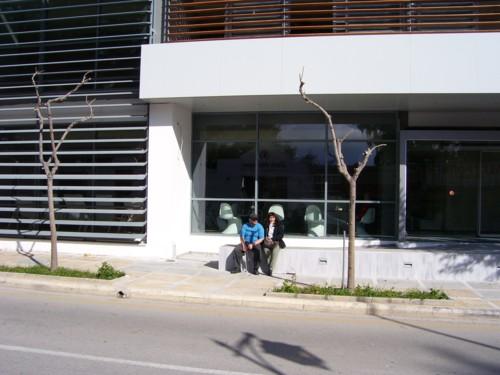 Tony and Tatiana outside popular health spa, in Loutraki.