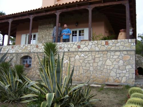 Tony outside Tatiana's parents home in Skaloma near Loutraki, Southern Greece.