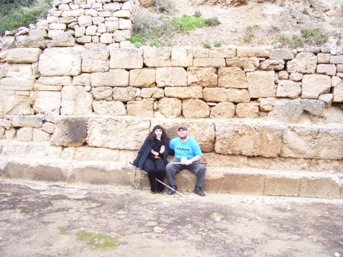Tony and Tatiana by large rock in Temple of Heraeon.