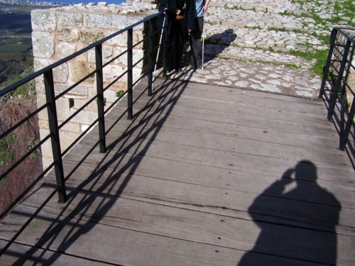Tony and Tatiana in front of Korinth Castle Gateway.