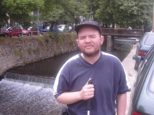 Tony by the Dragor River at Stara Charshija-Old Bazaar, Bitola city centre.