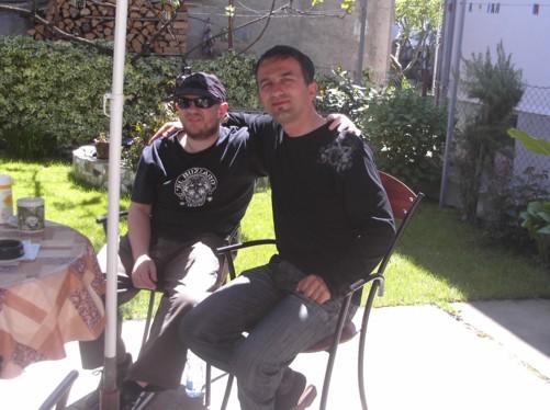 Tony and Antonio in the garden of Antonio's Guesthouse.