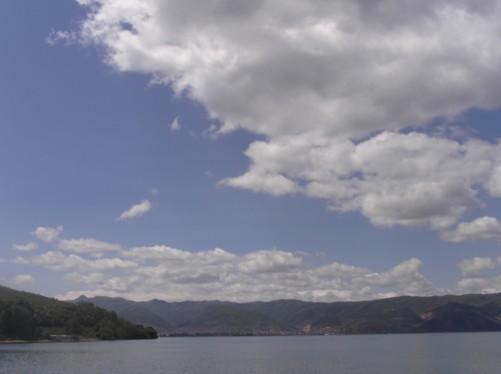 View across Lake Ohrid towards Albania.