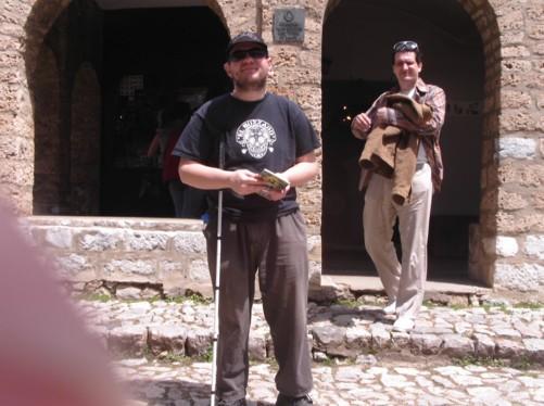 Tony outside the Byzantine St. Naum monastery Church.