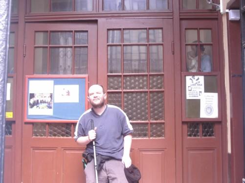 Tony outside the Catholic Cathedral 'Sacred Heart' on Sirok Sokak (Marshal Tito Street).