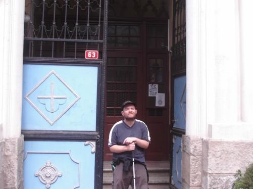 Tony outside the Catholic Cathedral.