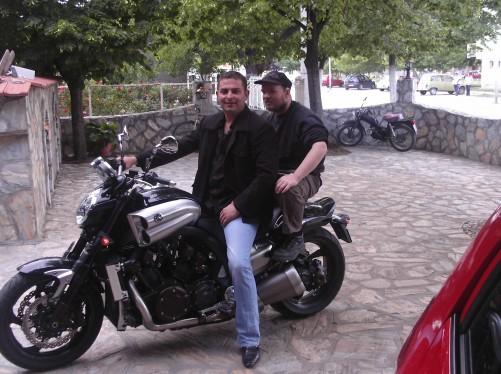 Tony on the back of a 750 cc motorbike. Breza Hotel, Prilep.