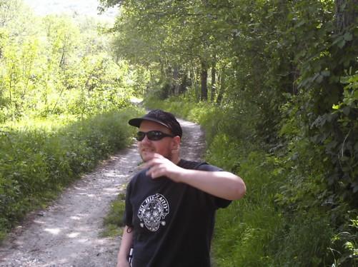 Tony walking along a track near Dihovo village.