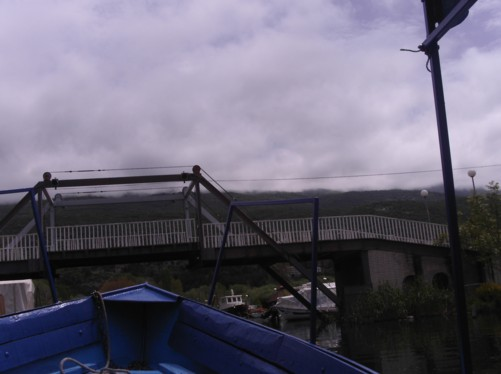Boat about to go under a bridge near Biljana springs.