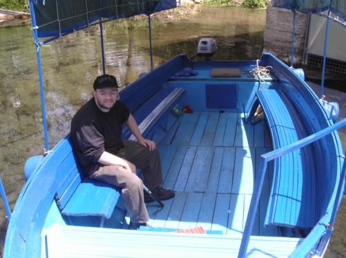 Tony back in small boat at Biljana springs.