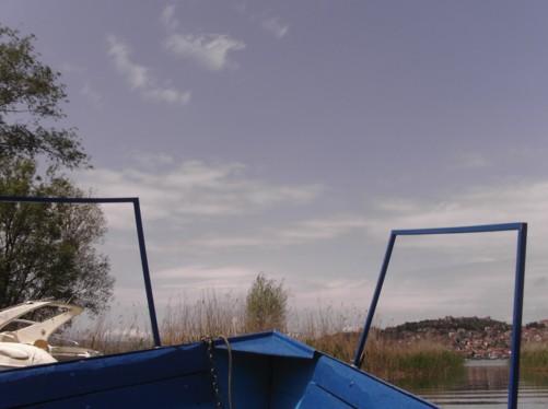 Boat heading back into Lake Ohrid from Biljana springs.