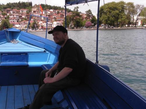 Tony in boat, heading back towards Ohrid town.