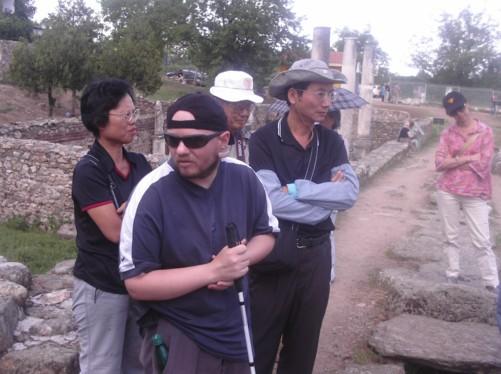 Tony and tourists, ancient city of Heraclea, Bitola.