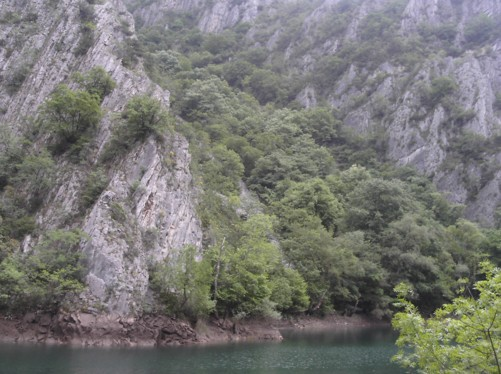 Lake Matka. This man-made lake is surrounded by mountains, natural rock and trees, very peaceful.