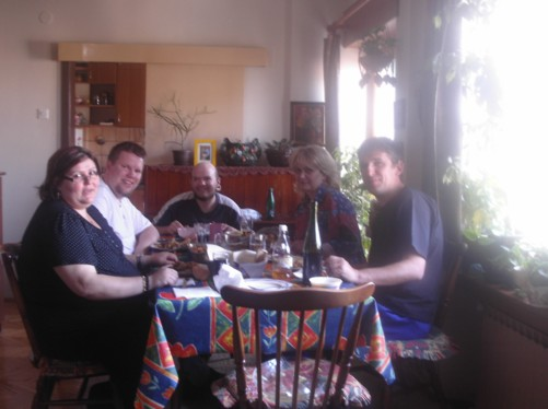 Dining room table at Pece's family home. Around the table are Tony, Hakan from America with his girlfriend Elaine, Pece and his wife Reneta.